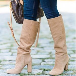 Sam Edelman Caprice Leather Block Heel Knee Boots